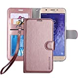 #3: Galaxy J7 2018 Case/J7 V Case 2018/Galaxy J7 Refine Case/Galaxy J7 Star Case, ERAGLOW Luxury PU Leather Wallet Flip Protective Case Cover w Card Slots & Stand for Samsung Galaxy J737 (Rose Gold)