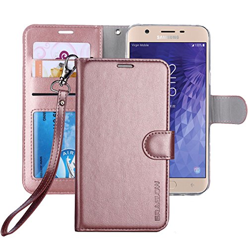 ERAGLOW Galaxy J7 2018 Case/J7 V 2nd case/J7 Refine/J7 Star/J7 Aero/J7 Crown/J7 Top/J7 Aura/J7 Eon Case, Luxury PU Leather Wallet Flip Protective Case Cover for Samsung Galaxy J737 (Rose - Card Neo Sleeves