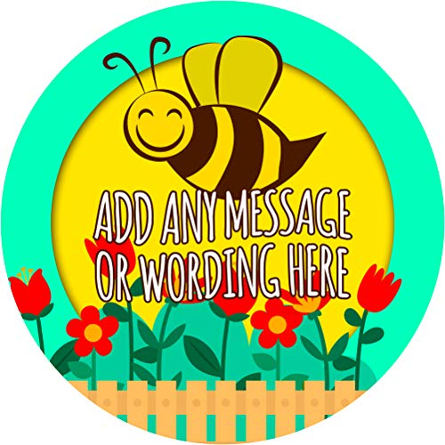 Gardening Honey Bee Sticker Labels (24 Stickers, 1.8'' Inch Each) Personalized Seals Ideal for Party Bags, Sweet Cones, Favours, Jars, Presentations Gift Boxes, Bottles, Crafts