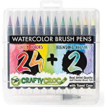 Watercolor Brush Pens for Artists – 24 x Vibrant Colors with Real Nylon Brush Tips, More Natural than Paint Markers - Case and 2 x Blending Brushes