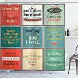 "Ambesonne Saying Shower Curtain, Illustration of Uplifting Messages Words Life Wisdom Art Success Themed Artwork, Cloth Fabric Bathroom Decor Set with Hooks, 75"" Long, Red Green"