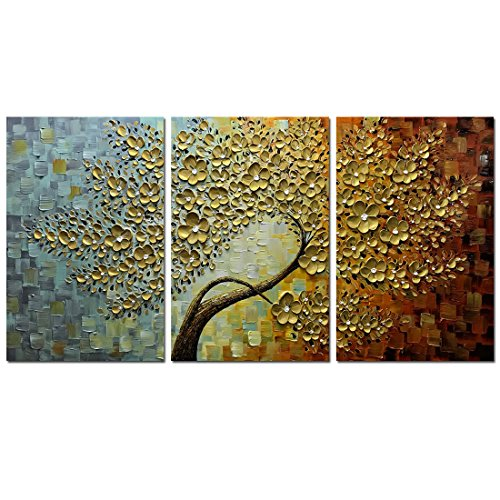 V-inspire Golden Flower Paintings, 30x60 Inch 3D Abstract Paintings Oil Hand Painting On Canvas Wood Inside Framed Ready to Hang Wall Decoration for Living Room Bed Room