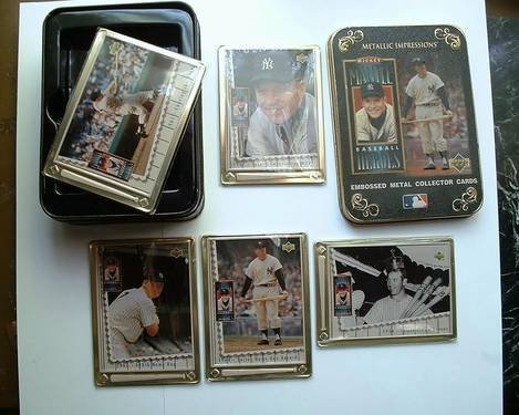Metallic Impressions Collector cards- Mickey Mantle Tin and Metal Cards by Upper Deck