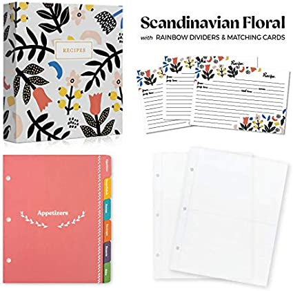 Jot /& Mark Recipe Organizer 3 Ring Binder Set Scandinavian Floral Rainbow Full Page Dividers and Plastic Page Protectors   50 Recipe Cards 4x6