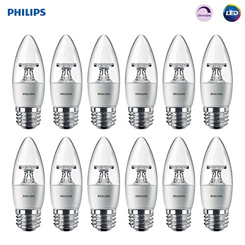 Philips LED Dimmable B11 Clear Candle Light Bulb: 300-Lumen, 2700-Kelvin, 4.5-Watt (40-Watt Equivalent), E26 Base, Soft White, 12-Pack - Uses Clear Standard Base Bulb