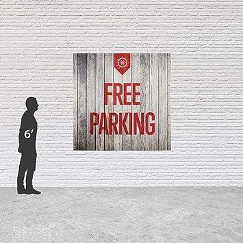Nautical Wood Heavy-Duty Outdoor Vinyl Banner 6x6 CGSignLab Free Parking