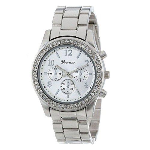 Gold Watch Women Luxury Brand Hot Geneva Ladies Wristwatches Gifts for Girl Full Stainless Steel Rhinestone Quartz Watch (silver)