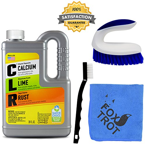 CLR Complete Cleaning Kit, Calcium Lime and Rust Removal System Includes 28oz CLR Bottle, 1 Handheld Heavy Duty Brush, 1 EZ Grip Thin Tip Vinyl Brush, 1 Professional Grade Foxtrot TM Microfiber Towel by Foxtrot Living