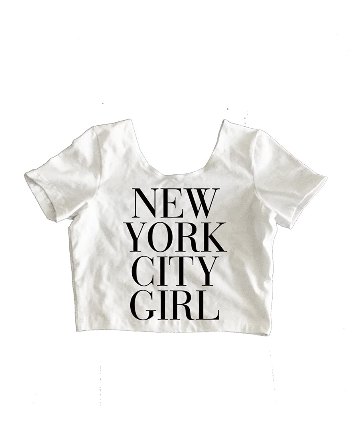 RexLambo Women's New York City Girl Vogue Typography Print Crop Top