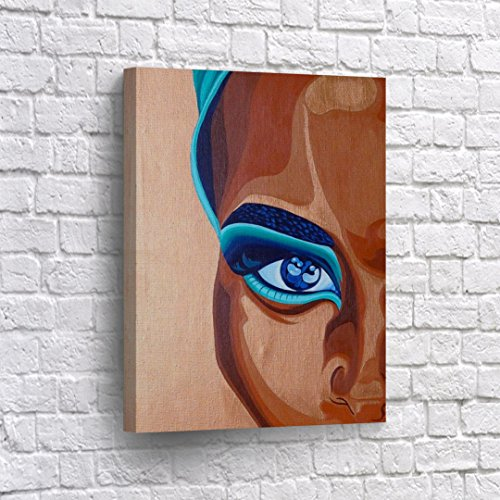 Blue Lady Painting - BUY4WALL Half Face African Woman Wall Art CANVAS PRINT Blue Eyes Oil Painting Decorative Art Home Decor Artwork Stretched and Framed - Ready To Hang - %100 Handmade in the USA 12x8
