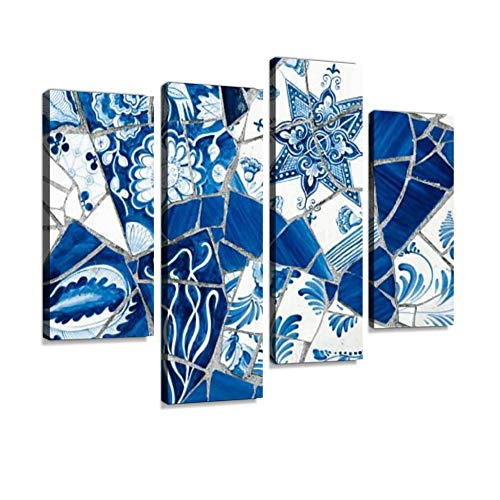 (Close-up on Antique Dutch Delft Blue Mosaic Tiles Canvas Wall Art Hanging Paintings Modern Artwork Abstract Picture Prints Home Decoration Gift Unique Designed Framed 4 Panel )