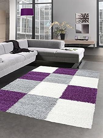 Shaggy Teppich Hochflor Langflor Bettvorleger Wohnzimmer Teppich Läufer  Karo Lila Grau Creme Größe 120x170 Cm