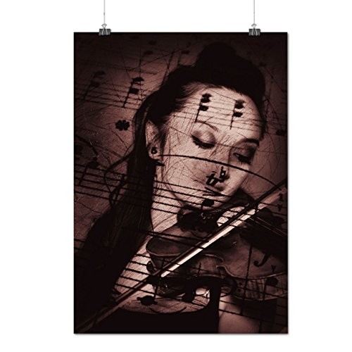 Woman Plays Violin Classic Tune Matte/Glossy Poster A3 (12x17 inches) | Wellcoda