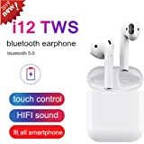 i12 TWS Bluetooth 5.0 Earphone Wireless Touch Earbuds Sweatproof headset 3D Stereo