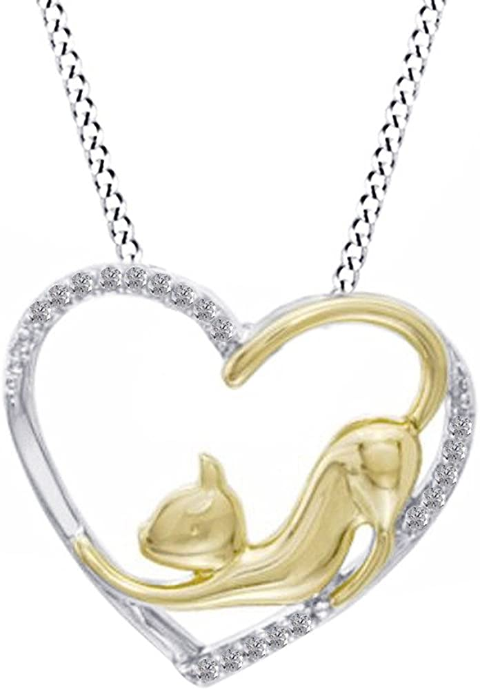 AT Jewels 14k White Gold Over 925 Sterling Silver Cat Child Earrings /& Pendant