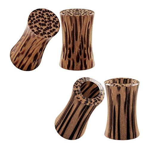 Solid Wood Plugs - BIG GAUGES 2 Pairs Coconut Wood 2gauges 6 mm Solid Double Flared Saddle Piercing Jewelry Stretcher Ear Lobe Flesh Tunnel Plugs BG2347