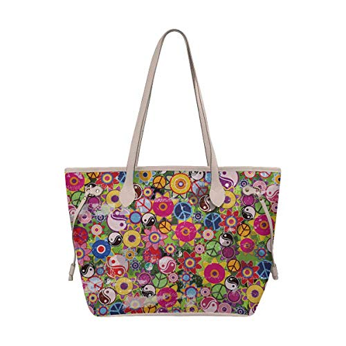 - InterestPrint Women's Stylish Tote Bag Travel Shoulder Colorful Hippies Flowers With Peace Sign