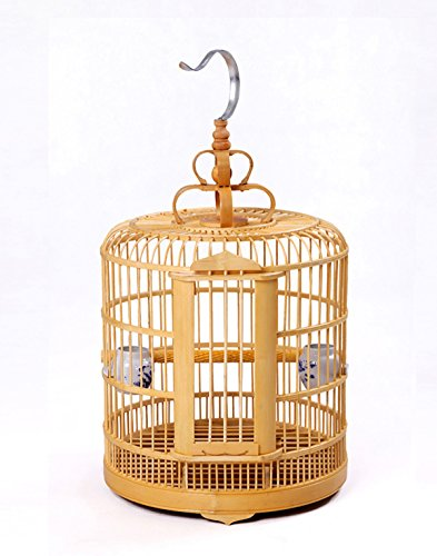 manual VINTAGE WOOD BAMBOO PAGODA STYLE BIRD CAGE MATCHSTICK -