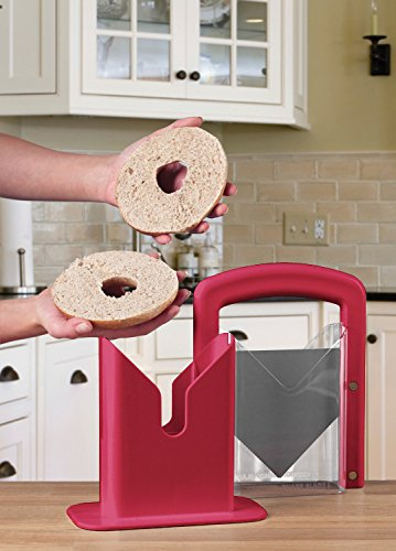 Hoan The Original Bagel Guillotine Universal Slicer, Red, 9.25-Inch - 5193848