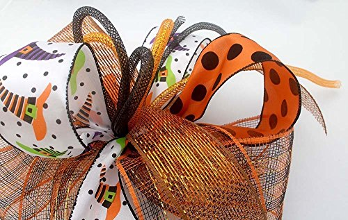 Whimsical Halloween witch hat bow for wreaths, mantle bow, lantern bows, holiday bows, ribbons, wedding bows, holiday decor, orange