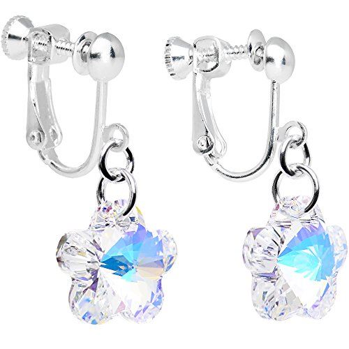 - Body Candy Handcrafted Silver Plated Clear Flower Clip On Earrings Created with Swarovski Crystals