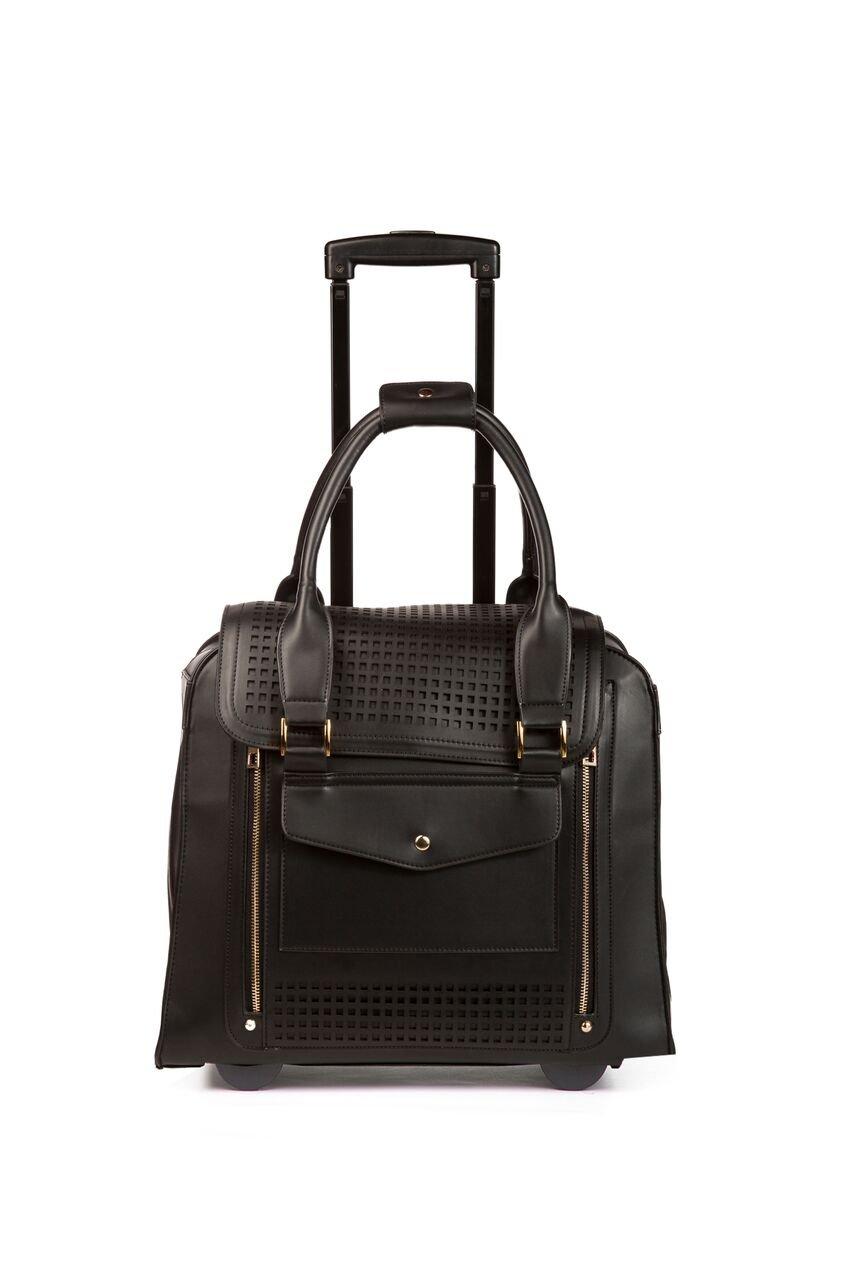 Zadie Perforated Black Rolling Trolley Bag