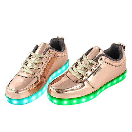 Shinmax Golded Erwachsene Reihe LED Schuhe 7 Farbe USB Aufladen LED Leuchtend Sport Schuhe Sportschuhe LED Sneaker Turnschuhe für Unisex-Erwachsene Herren Damen mit CE-Zertifikat Goldene