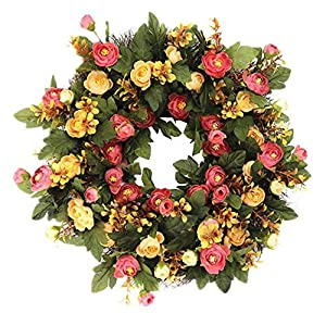SogYupk Decorative Seasonal Front Door Wreath Handcrafted Wreath for Outdoor Display in Fall, Winter, Spring, and Summer 15 inches 44