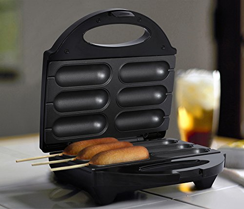 # 1 Professional 750W Non-Stick 6 Mini Corn Dog Maker, Cake Pops, Cheese Sticks Stainless Steel with Safety Shut Off feature Cool Touch Handle Recipes Included by Unique Imports
