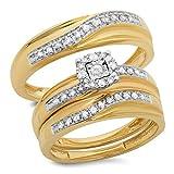0.33 Carat (ctw) 10K Yellow Gold Round White Diamond Men & Women's Engagement Ring Trio Set 1/3 CT
