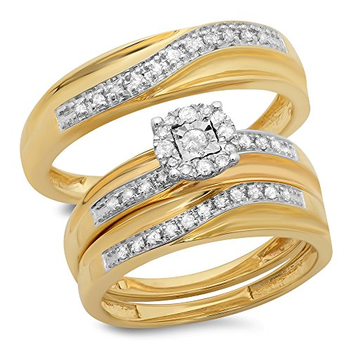 0.33 Carat (ctw) 10K Yellow Gold Round White Diamond Men & Women's Engagement Ring Trio Set 1/3 CT by DazzlingRock Collection