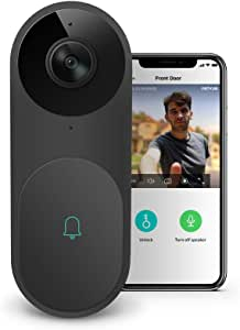 Video Doorbell - A.I. WiFi HD Camera Doorbell with Facial Recognition, Voice Interaction, Night Vision, Motion Detection, Wireless Doorbell, Push Notification, Compatible with Alexa Echo Show