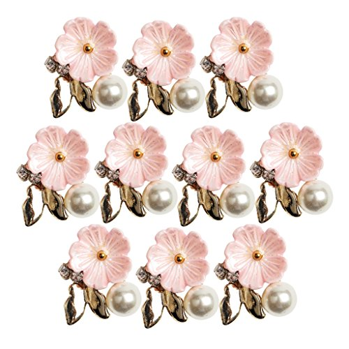 MonkeyJack 10 Pieces Faux Pearl Flower Embellishments Button Flatback Embellishment FOR Wedding Decoration DIY Diamante Bow Accessories - pink