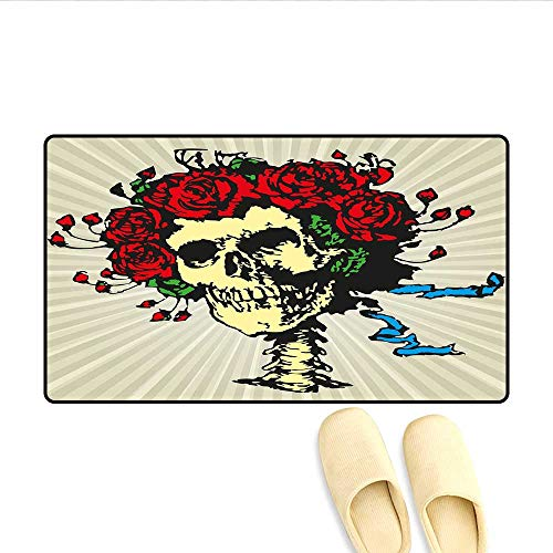 Bath Mat Tattoo Art Style Graphic Skull in Red Flowers Crown Halloween Composition Print Floor Mat Pattern Beige Multicolor -