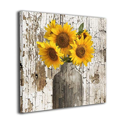 Picture Sunflower (Rustic Floral Country Farmhouse Sunflower Modern Picture Canvas Wall Art Print Paintings Artwork For Living Room Wall Decor And Home Decor Framed Ready To Hang 12