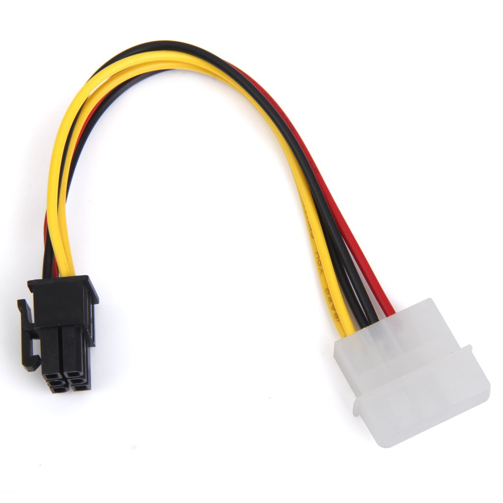 Sharplace 4-Pin Molex M/ännlich 6-Pin PCI Express PCIE Weiblich Leistung Adapter Grafikkarten-Stromkabel Adapter Strom Kabel