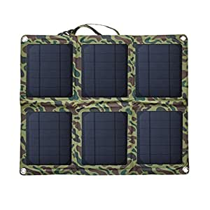 YUNDUAN Solar Charger 18W Portable Solar Panel Foldable High Efficiency 5V USB 18V DC Dual Output Charger for Laptop Tablet iPhone iPad Camera Other 5-18V Device (green)