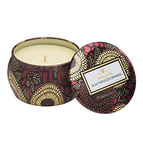 (Voluspa Goji and Tarocco Orange Limited Decorative Mini Tin Candle, 4 Ounce)
