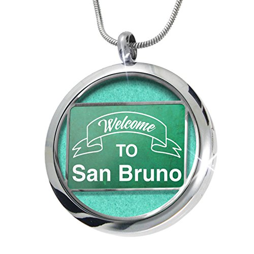NEONBLOND Green Sign Welcome To San Bruno Aromatherapy Essential Oil Diffuser Necklace Locket Pendant Jewelry Set