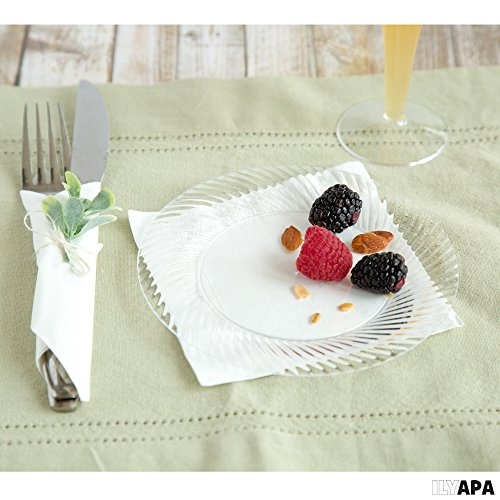100 Premium Clear Plastic Plates for Party or Wedding - 6 Inch Fancy Disposable Plastics Plates by Ilyapa (Image #2)