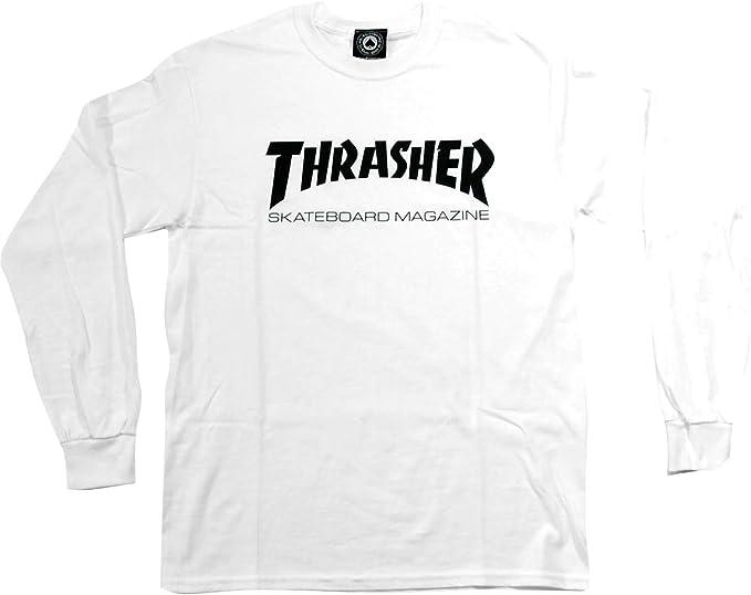 Revista Thrasher Skate mag Blanco para Hombre Manga Larga Camiseta – Grande: Amazon.es: Deportes y aire libre