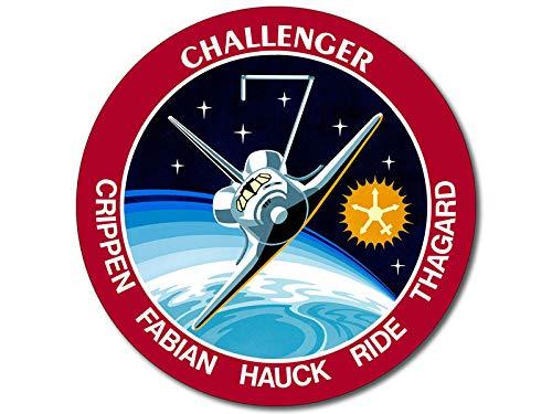 American Vinyl Round Space Shuttle Mission STS 7 Sticker (Challenger NASA Logo Insignia Patch Design)