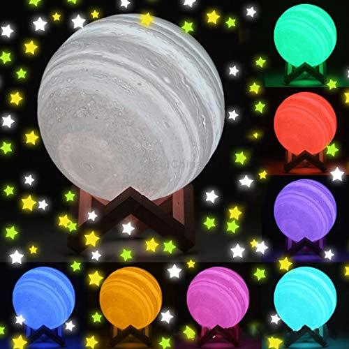 Moon Lamp - 3D Print Colorful Change Lamp Home Decoration Jupiter Lights Nursery Décor Night Lights for Kids (D) ()