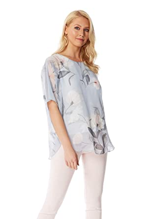 2f35b3f84 Roman Originals Women Batwing Floral Top at Amazon Women s Clothing store