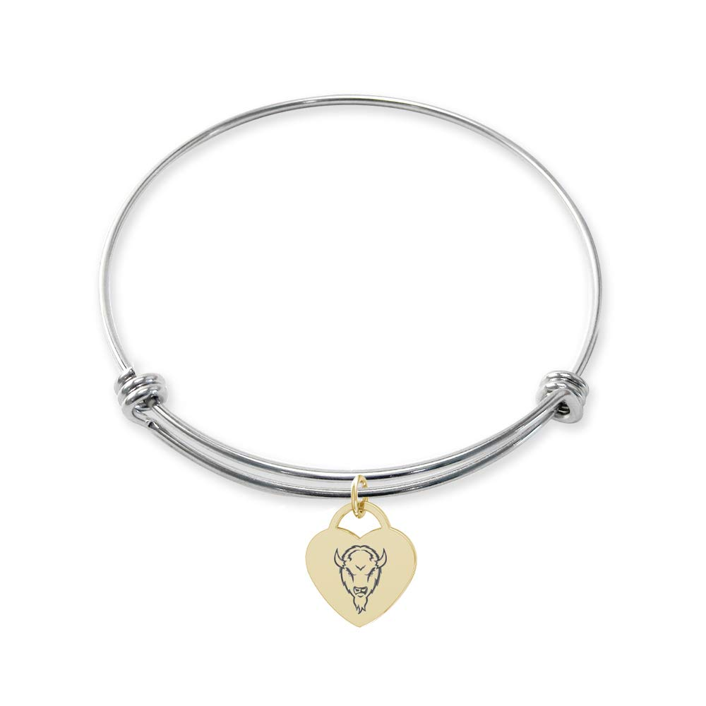 College Jewelry Marshall Thundering Herd Stainless Steel Adjustable Bangle Bracelet with Yellow Gold Plated Heart Charm