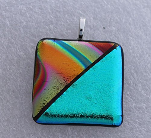 Dichroic Glass Pendant - Jewels of Fire Handmade Dichroic Glass Pendant in Shades of Turquoise, Orange, Pink, Green