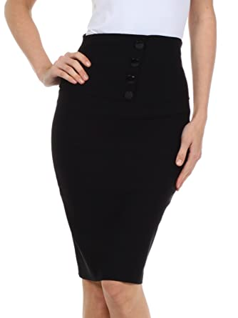 Amazon.com: Sakkas Petite High Waist Stretch Pencil Skirt with ...