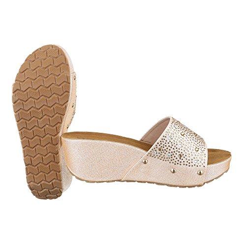 Ital-Design - zapatillas de baile (jazz y contemporáneo) Mujer dorado