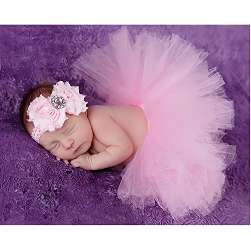 Everpert Newborn Baby Girls Skirt Photo Props Recem Nascido Foto(Pink1)