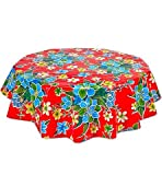 Round Freckled Sage Oilcloth Tablecloth in Hawaii Red - You Pick the Size!